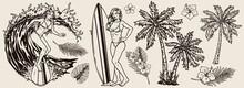 Summer Surfing Vintage Monochrome Concept