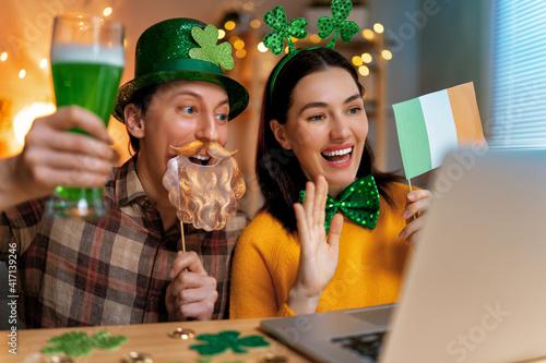 couple celebrating St. Patrick's Day © Konstantin Yuganov