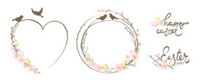 Frames For Easter Holidays. Willow, Cherry Blossom And Eggs. Set Vector Design Elements On The Theme Of Flowering And Spring.