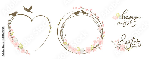 Fototapeta Frames for Easter holidays. Willow, Cherry blossom and eggs. Set vector design elements on the theme of flowering and spring.	 obraz