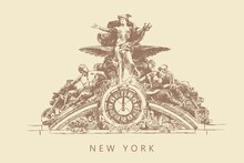 Sketch Of A Sculpture With A Clock On The Grand Central Terminal Building In New York, USA, Hand-drawn.