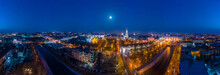 Wide Winter Aerial Panorama Of Embankment Of Lopan River With View To Holy Dormition Cathedral - Uspenskiy Sobor, And Night Panorama Of Kharkiv City, Ukraine