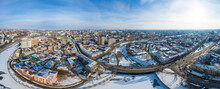 Wide Aerial Panorama Of Kharkiv, Ukraine, Cityscape With Embankment At Winter Sunny Day