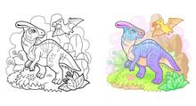 Cartoon Prehistoric Dinosaur Parasaurolophus, Funny Illustration