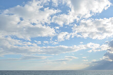 Beautiful Blue Sky And Clouds, Mountains And Sea