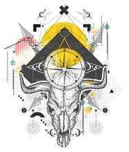 Skull Bull. Wild West Art, Compass, Crossed Arrows. Zine Culture Concept. Hand Drawn Vector Glitch Tattoo, Contemporary  Cyberpunk Collage. Vaporwave Art. Surreal Pop Culture Style