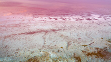 Top View Of The Salt-covered Shore Of Pink Lake.