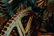 Rusty Details Of Old Mechanisms And Machine Tools
