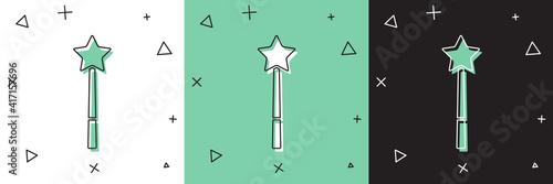 Obraz na plátně Set Magic wand icon isolated on white and green, black background