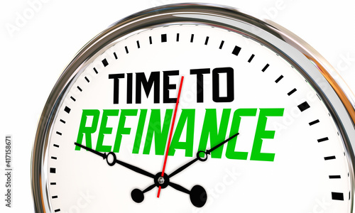 Stampa su Tela Time to Refinance Clock Refi Your Home Mortgage Interest Rate Save Money 3d Illu