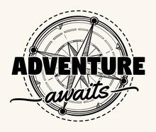 Adventure Awaits - Compass Wind Rose Decorative Monochrome Emblem