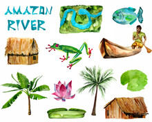 Amazon River Watercolor Set With River Map, Boy In Canoe, Hut, Palm, Lotus, Frog, Piranha. Template For Decorating Designs And Illustrations.