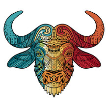Patterned Colorful Head Of A Bull, Bison. Abstract Ethnic Image Of African Buffalo With An Unusual Ornament. Colorful Rainbow Decoration Painted By Hand. Series Of Animals In The Ethnic Style. Vector