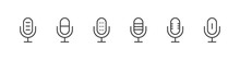 Microphone Icons Set. Mic Signs. Podcast Icons. Studio Microphone. Linear Style. Vector Illustration