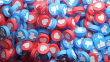 Overhead View Of A Big Heap Of Social Media Like And Love Buttons, Thumb Up For A Background In 3D Rendering. . Social Network Banner And Advertising Background