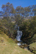 A Waterfall And Stream Near Loch Assynt And Ardvreck Castle