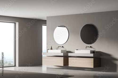 Fototapeta Modern bathroom interior with two sinks and mirrors in eco minimalist style. No people. 3D Rendering. obraz na płótnie