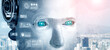 canvas print picture - Robot humanoid face close up with graphic concept of big data analytic by AI thinking brain, artificial intelligence and machine learning process for the 4th fourth industrial revolution. 3D rendering