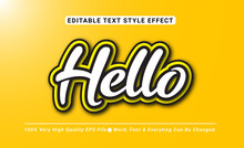 3D Hello With Yellow Color Text Effect, Editable Text Effect