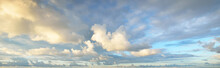 Clear Blue Sky With Glowing White Cirrus And Cumulus Clouds After Storm At Sunset. Dramatic Cloudscape. Concept Art, Meteorology, Heaven, Hope, Peace, Graphic Resources, Picturesque Panoramic Scenery