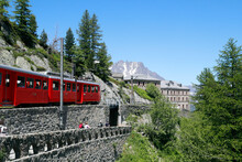 Mont-Blanc Massif In The French Alps. The Montenvers Railway Runs From Chamonix To  The Mer De Glace Glacier At An Altitude Of 1913 M. France.  07.06.2018