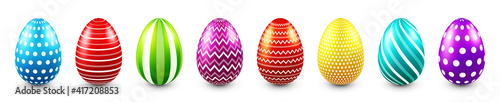 Foto Colorful Easter eggs isolated on white background