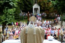 Sanctuary Of La Benite Fontaine. Catholic Mass.  Bishop Yves Boivineau. France.