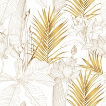 Tropical Exotic Floral Line Golden  Palm Leaves And Flowers Seamless Pattern, Line Background. Exotic Jungle Wallpaper.