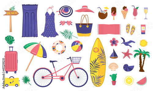 Fototapeta A large bright set of summer items obraz