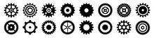 Simple Gear Icons. Wheels Set On Black Background. Vector White Cogwheels Collection.