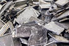 Scrap Pile Of Old Used Car Aluminum Cooling Radiators
