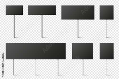 Tela Black blank board with place for text, protest signs set isolated on transparent background