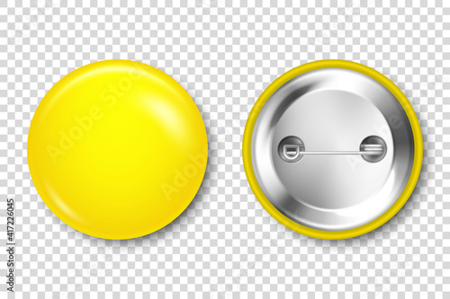 Fotografiet Realistic yellow blank badge isolated on transparent background