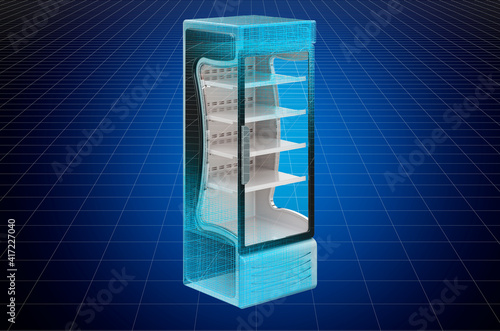 Fotografia Visualization 3d cad model of refrigerated display case, showcase, blueprint