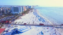 Aerial View On Ocean Beach. Spring Break Or Summer Vacations In Florida. Hotels, Restaurants And Resorts In US. American Coast Or Shore Gulf Of Mexico. Clearwater Beach FL.