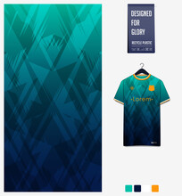 Fabric Pattern Design. Geometric Pattern On Green Background For Soccer Jersey, Football Kit Or Sports Uniform. T-shirt Mockup Template. Soccer Jersey Pattern. Abstract Background.