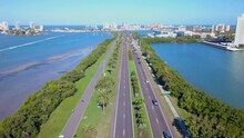Beach Road. Aerial View On Ocean Or Shore Gulf Of Mexico. Spring Break Or Summer Vacations In Florida. Hotels, Restaurants And Resorts. Blue Color Water. Clearwater Beach FL. United States Of America