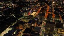 Spokane At Night, Drone View, Washington, Downtown, City Lights