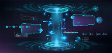 Futuristic Circle 3D Lab With HUD Elements Interface UI, GUI, Web Presentation. 3D Stage Hologram With Glow, Light Effects. Sci-fi Digital Podium With Projector. Magic Podium For Show Your Product