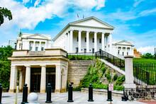 Virginia Statehouse, Richmond, Virginia VA Legislature, Public Buildings, On A Sunny Day With Blue Sky And Clouds