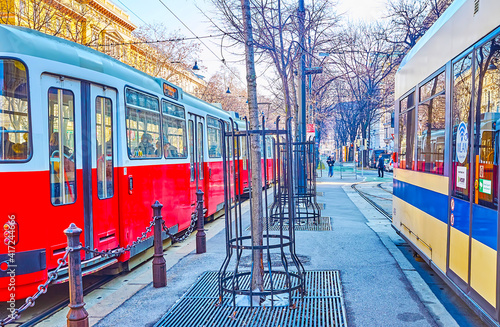 Trams in old town, Vienna, Austria Fotobehang