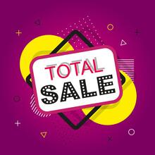 Purple Sale Banner. Total Sale Banner. Sale And Discounts. Social Media Post. Vector Illustration