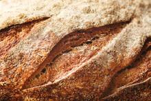 Details Of Cuts In A Sourdough Bread's Crust.