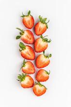 Fresh Strawberries Over White Background