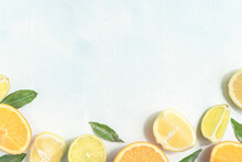 Sliced Fresh Citrus Fruits With Leaves