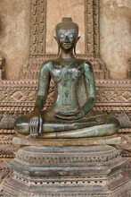 Bronze Seated Buddha Statue At Wat Phra (Pha) Keo, Vientiane, Laos