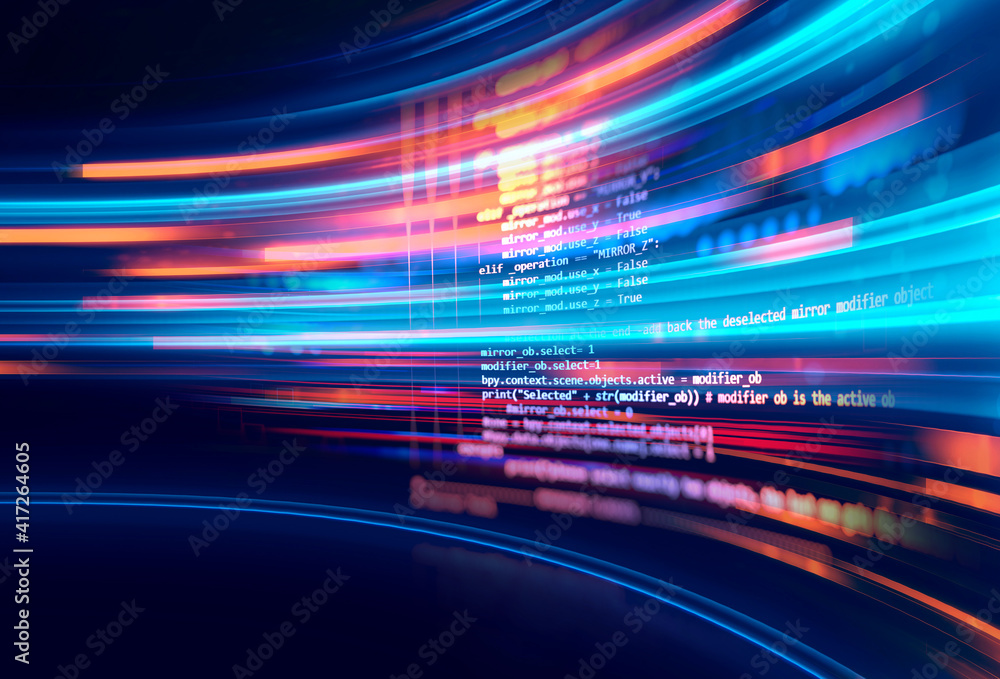 Fototapeta Programming code abstract technology background of software developer and  Computer script 3d illustration