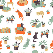 Colorful Seamless Pattern With сats And Furniture Doodle Style Elements.