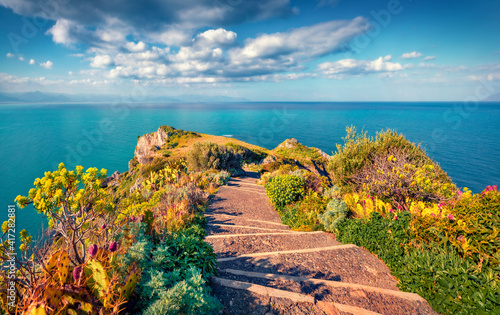Fototapety, obrazy: Beautiful marine scenery. Sunny summer view of Milazzo cape. Bright morning scene of nature reserve Piscina di Venere, Sicily, Italy, Europe. Picturesque seascape of Mediterranean sea.