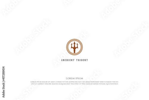 Obraz na płótnie Circular Trident Neptune Lord Poseidon Triton King of the Spear Logo Design Vect
